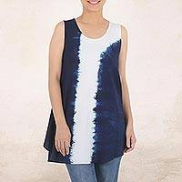 Tie-dyed cotton tunic, 'Flowing' - Indigo White Vertical Stripe Tie-Dye Sleeveless Cotton Tunic