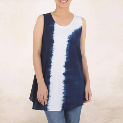 Tie-dyed cotton tunic, Flowing