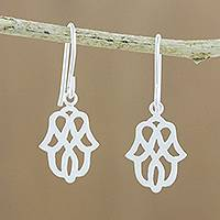 Sterling silver dangle earrings, 'Beautiful Symmetry' - Modern Floral Motif Sterling Silver Dangle Earrings