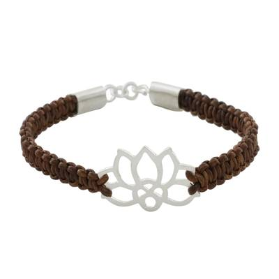 Sterling silver and leather pendant bracelet, 'Lotus Strength in Brown' - Sterling Silver Lotus Pendant Brown Leather Bracelet