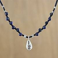 Lapis lazuli beaded pendant necklace, 'Lapis Destiny' - Lapis Lazuli Beaded Pendant Necklace with Hill Tribe Silver