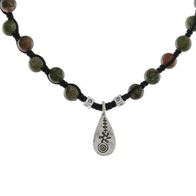 Unakite beaded pendant necklace, 'Unakite Destiny' - Unakite Beaded Pendant Necklace with Hill Tribe Silver