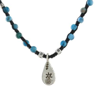 Apatite beaded pendant necklace, 'Apatite Destiny' - Apatite Beaded Pendant Necklace with Hill Tribe Silver