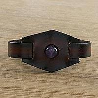 Amethyst and leather pendant bracelet, 'Amethyst Focus' - Amethyst and Leather Wristband Bracelet from Thailand