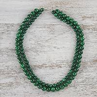 Quartz beaded necklace, 'Double Jungle Strand' - Double Strand Quartz Beaded Necklace from Thailand