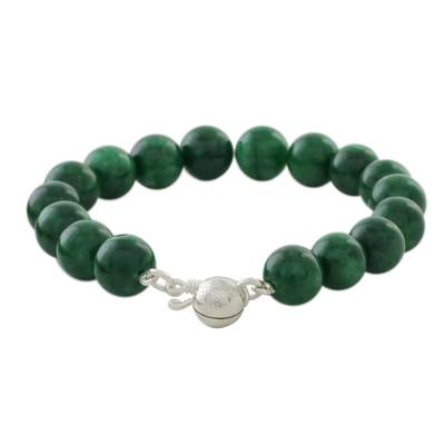 Quartz beaded bracelet, 'Voice of the Jungle' - Green Quartz Beaded Bracelet with Bell from Thailand