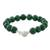 Quartz beaded bracelet, 'Voice of the Jungle' - Green Quartz Beaded Bracelet with Bell from Thailand thumbail