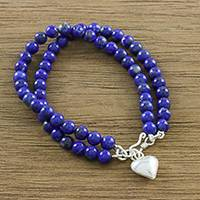 Lapis lazuli beaded bracelet, 'Seaside Love'