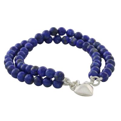 Lapis lazuli beaded bracelet, 'Seaside Love' - Lapis Lazuli Beaded Bracelet from Thailand