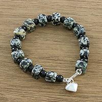 Jasper and onyx beaded bracelet, 'Dalmatian Squares' - Jasper and Onyx Beaded Bracelet from Thailand