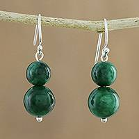 Quartz beaded dangle earrings, 'Jungle Spheres' - Green Quartz Beaded Dangle Earrings from Thailand