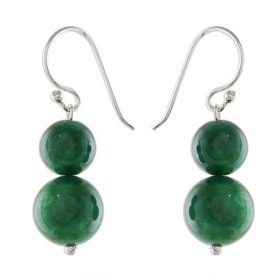 Quartz beaded dangle earrings, 'Jungle Spheres' - Green Quartz Beaded Dangle Earrings from Thailand
