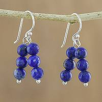 Lapis lazuli beaded dangle earrings, 'Midnight Mood' - Lapis Lazuli Beaded Dangle Earrings from Thailand