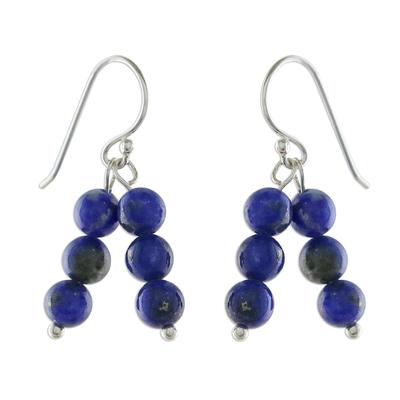 Lapis Lazuli Beaded Dangle Earrings from Thailand