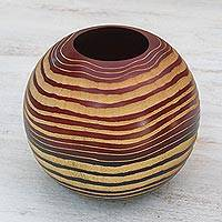 Wood decorative vase, 'Ripple Effect' - Hand Carved and Etched Mango Wood Decorative Spherical Vase