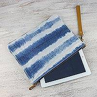 Leather accent tie-dyed cotton wristlet, 'Sky Stripes' - Tie-Dyed Striped Cotton Wristlet in Blue from Thailand