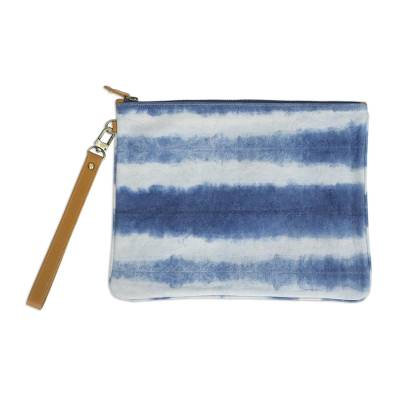 Tie-Dyed Striped Cotton Wristlet in Blue from Thailand