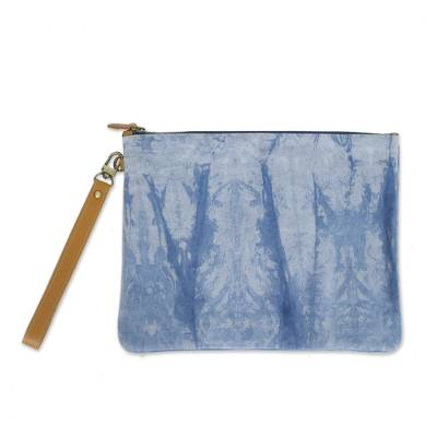 Tie-Dyed Leather Accent Cotton Clutch from Thailand