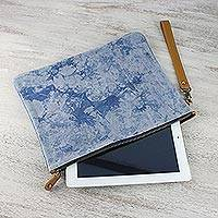 Leather accent tie-dyed cotton clutch, 'Blooming Blue' - Blue Tie-Dyed Leather Accent Cotton Clutch from Thailand