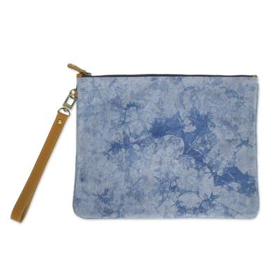 Blue Tie-Dyed Leather Accent Cotton Clutch from Thailand