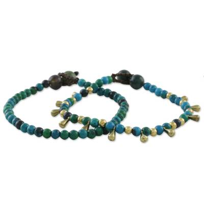 Serpentine and agate beaded bracelets, 'Beautiful Forever' (pair) - Serpentine and Agate Beaded Bracelets from Thailand (Pair)