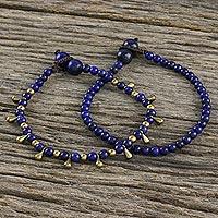 Lapis lazuli beaded bracelets, 'Beautiful Forever' (pair) - Lapis Lazuli Beaded Bracelets from Thailand (Pair)