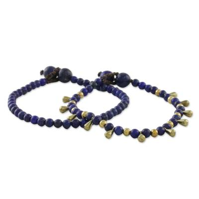 Lapis lazuli beaded bracelets, 'Beautiful Forever' (pair) - Lapis Lazuli Beaded Bracelets from Thailand (Pair)