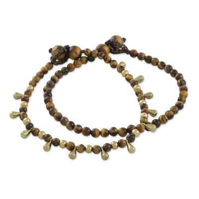Tiger's eye beaded bracelets, 'Beautiful Forever' (pair) - Tiger's Eye Beaded Bracelets from Thailand (Pair)