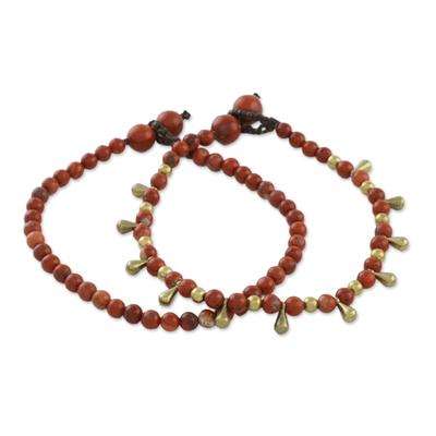 Jasper beaded bracelets, 'Beautiful Forever' (pair) - Jasper Beaded Bracelets from Thailand (Pair)
