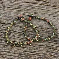Unakite beaded bracelets, 'Beautiful Forever' (pair) - Unakite Beaded Bracelets from Thailand (Pair)