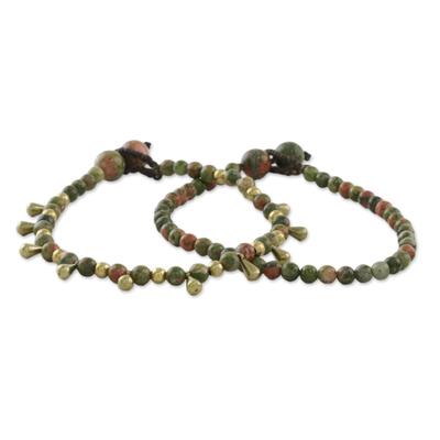 Unakite beaded bracelets, 'Beautiful Forever' (pair) - Unakite Beaded Bracelets from Thailand (Pair)