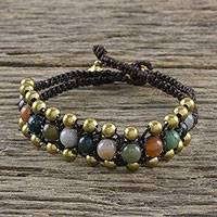 Agate beaded wristband bracelet, 'Natural Voice' - Agate Beaded Wristband Bracelet from Thailand