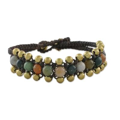 Agate Beaded Wristband Bracelet from Thailand
