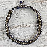 Lapis lazuli beaded necklace, 'Boho Gala' - Lapis Lazuli Beaded Choker Necklace from Thailand