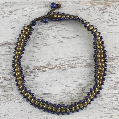 Novica Lapis lazuli beaded necklace, Boho Gala