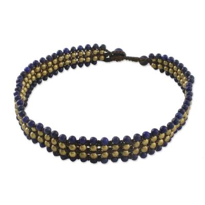 Lapis lazuli beaded necklace, 'Boho Gala' - Lapis Lazuli Beaded Choker Necklace from Thailand