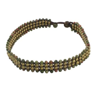 Unakite beaded choker necklace, 'Boho Gala' - Unakite Beaded Choker Necklace from Thailand