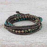 Serpentine and unakite beaded wrap bracelet, 'Voice of the Forest' - Serpentine and Unakite Beaded Wrap Bracelet