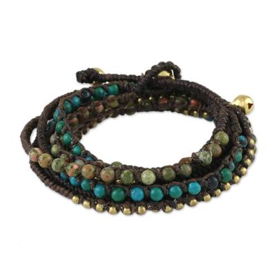 Serpentine and unakite beaded wrap bracelet, 'Voice of the Forest' - Serpentine and Unakite Beaded Wrap Bracelet