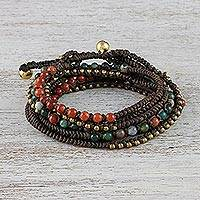 Agate and jasper beaded wrap bracelet, 'Voice of the Forest' - Agate and Jasper Beaded Wrap Bracelet
