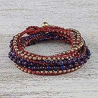 Lapis lazuli beaded wrap bracelet, 'Boho Dream' - Lapis Lazuli and Brass Beaded Wrap Bracelet