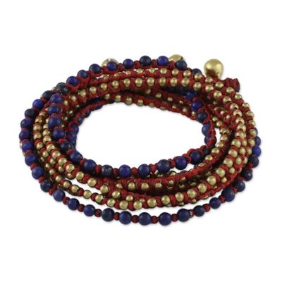 Lapis Lazuli and Brass Beaded Wrap Bracelet