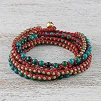 Serpentine beaded wrap bracelet, 'Boho Dream' - Serpentine Beaded Wrap Bracelet
