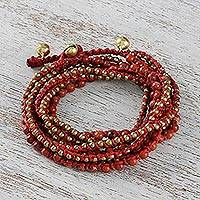 Jasper beaded wrap bracelet, 'Boho Dream'