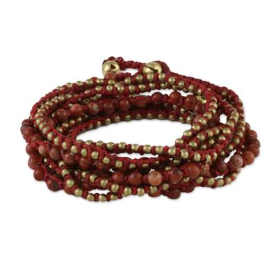Jasper beaded wrap bracelet, 'Boho Dream' - Jasper Beaded Wrap Bracelet from Thailand