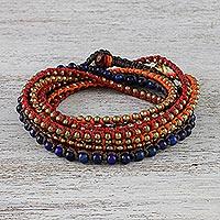 Lapis lazuli beaded wrap bracelet, 'Boho Holiday' - Boho Lapis Lazuli Beaded Wrap Bracelet