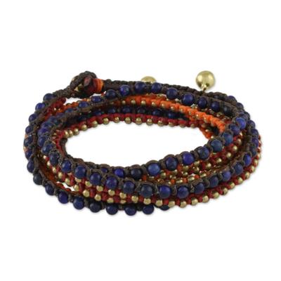 Lapis lazuli beaded wrap bracelet, 'Boho Holiday' - Boho Lapis Lazuli Beaded Wrap Bracelet from Thailand
