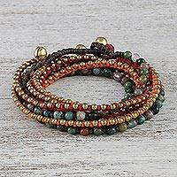 Agate beaded wrap bracelet, 'Boho Holiday'