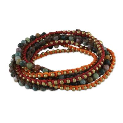 Agate beaded wrap bracelet, 'Boho Holiday' - Boho Agate Beaded Wrap Bracelet