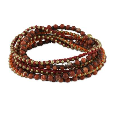Jasper beaded wrap bracelet, 'Boho Holiday' - Boho Jasper Beaded Wrap Bracelet